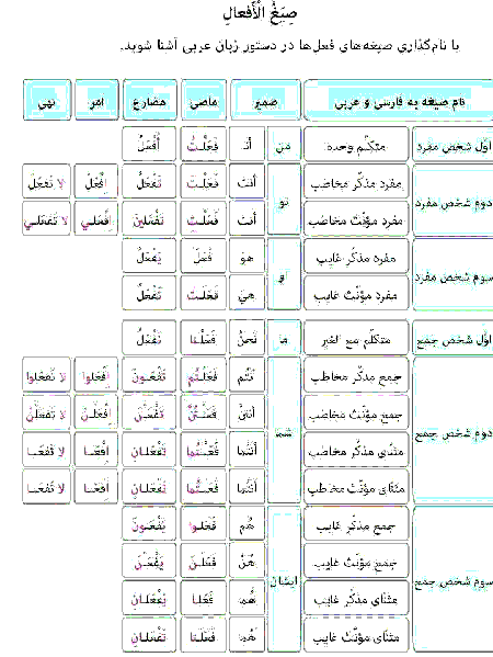 آشنایی با صیغه های افعال ماضی، مضارع، امر و نهی در دستور زبان عربی