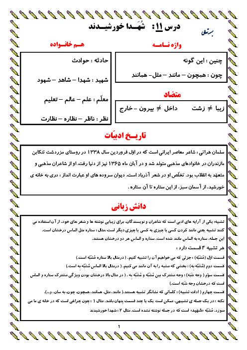 معنی عبارت های درس، واژه نامه، دانش زبانی و تاریخ ادبیات درس 11 | فارسی پایه ششم دبستان
