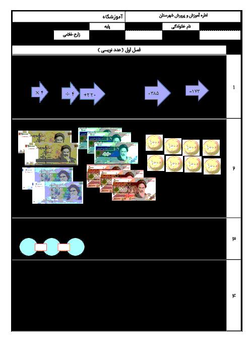 آزمون مداد کاغذی فصل اعداد و الگوها ریاضی چهارم  دبستان