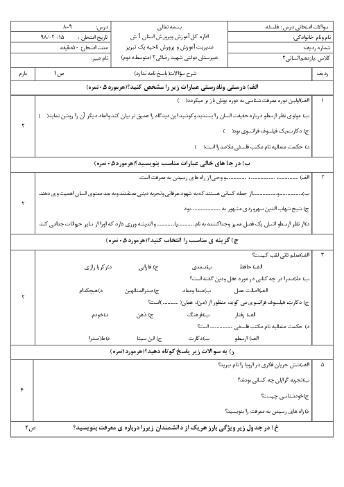 آزمون فلسفه یازدهم دبیرستان شهید رضایی   درس 8 و 9