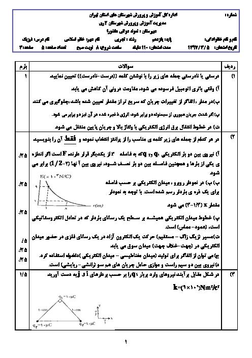 سؤالات امتحان نوبت دوم فیزیک (2) پایه یازدهم دبیرستان عاشورا  | خرداد 1397