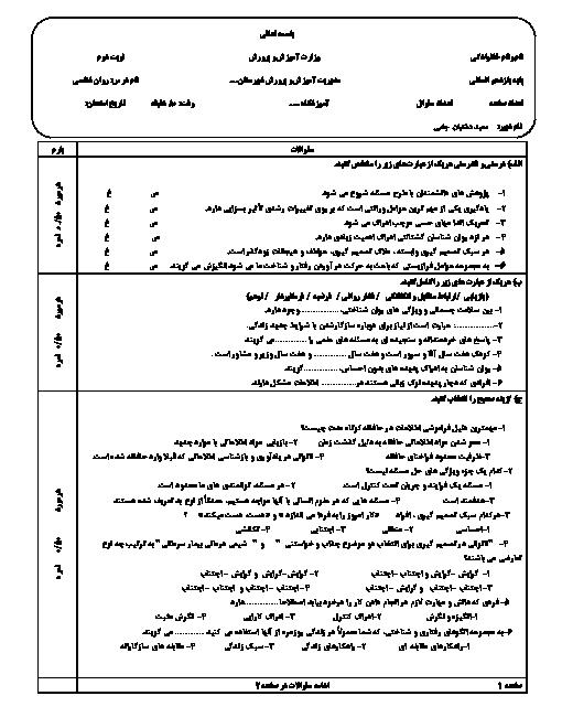 پیش آزمون نوبت دوم روانشناسی یازدهم دبیرستان شهید مطهری تربت جام | اردیبهشت 1398 + پاسخ