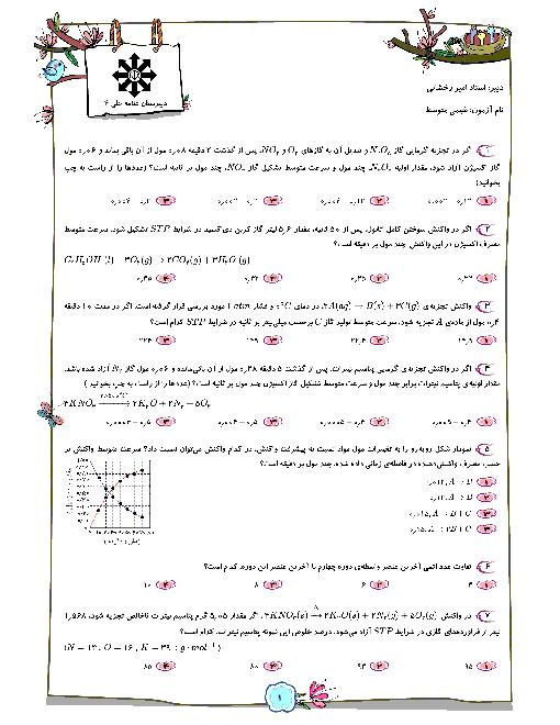 سوالات تستی جمع بندی شیمی یازدهم سطح متوسط + پاسخ تشریحی