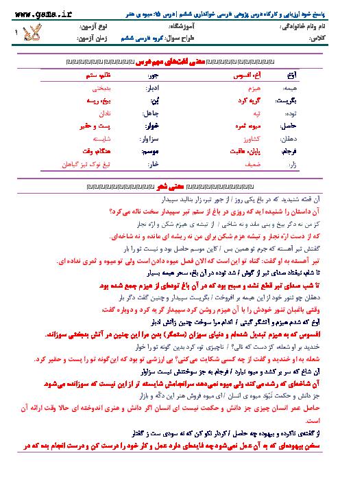 پاسخ خود ارزیابی و کارگاه درس پژوهی فارسی خوانداری ششم | درس 15: ميوه ي هنر