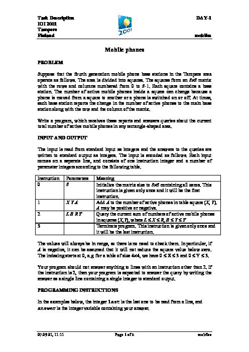 سؤالات سیزدهمین دوره المپیاد جهانی کامپیوتر با پاسخ تشریحی | سال 2001 (فنلاند)
