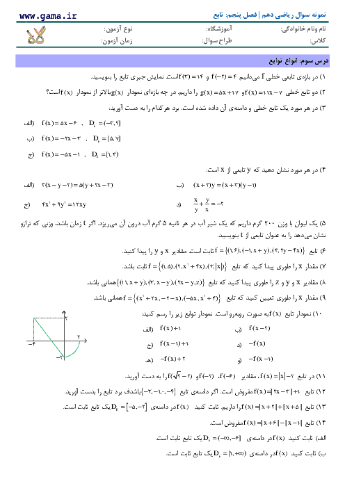 تمرین تکمیلی ریاضی (1) دهم  رشته ریاضی و تجربی | فصل پنجم- درس 3: انواع توابع