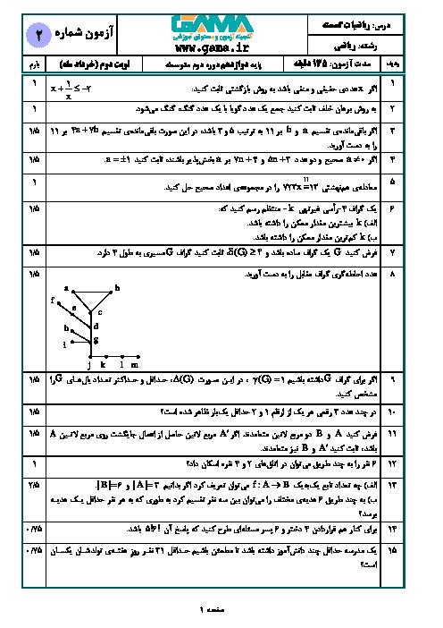 آزمون آمادگی امتحان نهایی ریاضیات گسسته دوازدهم ریاضی | نمونه 2 + پاسخ