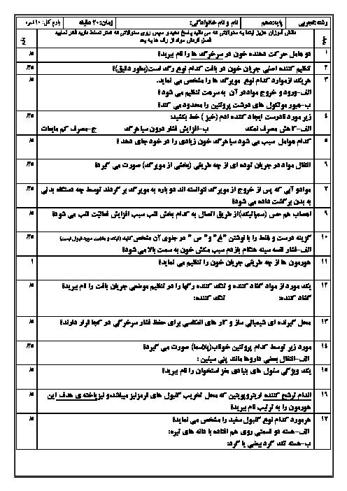 آزمون کلاسی فصل چهارم زیست شناسی دهم دبیرستان امام جعفر صادق | گفتار 2 و 3 و 4
