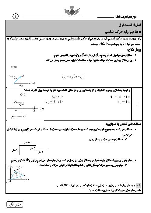 جزوه، تمرین و تست موضوعی فیزیک (3) تجربی دوازدهم   فصل 1: حرکت بر خط راست