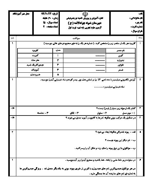 سوال و پاسخ امتحان ترم اول علوم تجربی نهم مدرسه جواد الائمه | دی 97: فصل 1 تا 7 + پاسخ