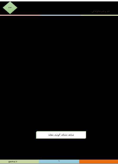 آزمونک فارسی سوم دبستان امام حسن مجتبی رفسنجان | درس 15: دریا