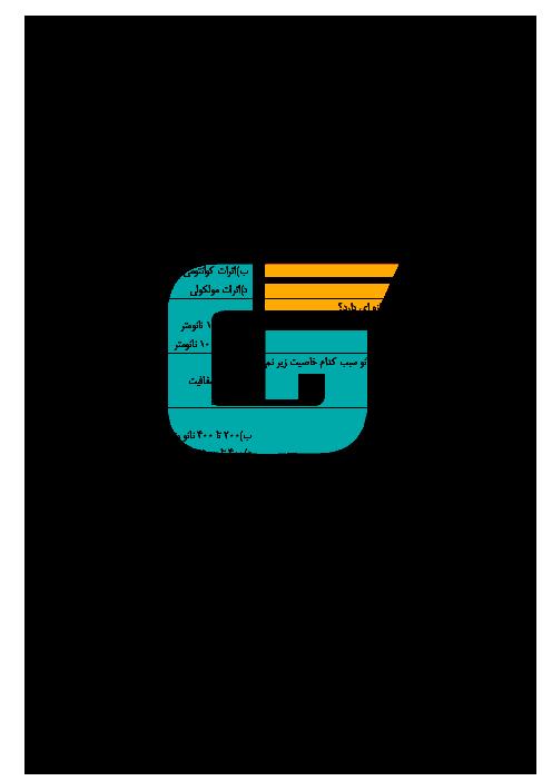 آزمون پودمانی کاربرد فناوریهای نوین یازدهم هنرستان علی بن موسی الرضا | پودمان 3: فناوری هم گرا و مواد نوترکیب + پاسخ