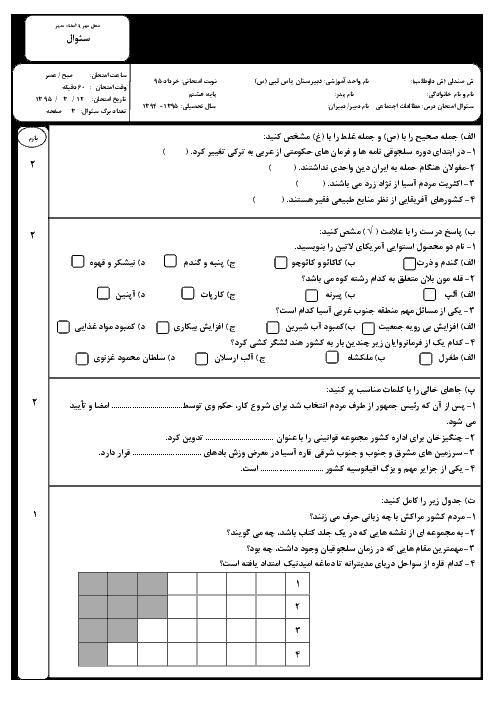 آزمون نوبت دوم مطالعات اجتماعی هشتم | دبیرستان یاس نبی | خرداد 95