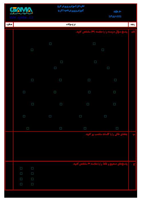 آزمون نوبت دوم علوم تجربی ششم هماهنگ ناحیه 2 کرج | خرداد 1398