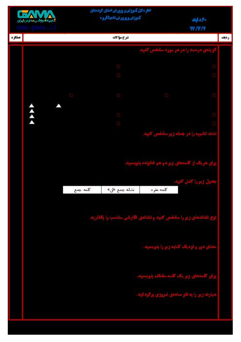 سؤالات امتحان هماهنگ نوبت دوم انشا و نگارش پایه ششم ابتدائی مدارس ناحیه قروه | خرداد 1397