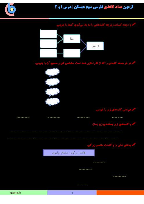 آزمون مدادکاغذی فارسی سوم دبستان | فصل اول: نهادها (درس 1 و 2)