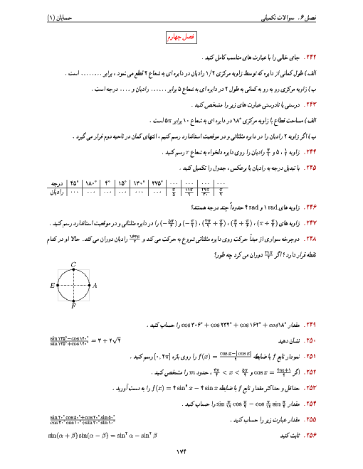 تمرینهای تکمیلی حسابان (1) یازدهم رشته ریاضی   فصل چهارم- مثلثات