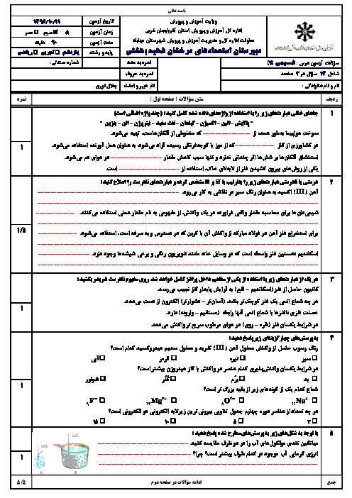 سوالات امتحان نوبت اول شیمی (2) یازدهم دبیرستان شهید بهشتی مهاباد | دی 96