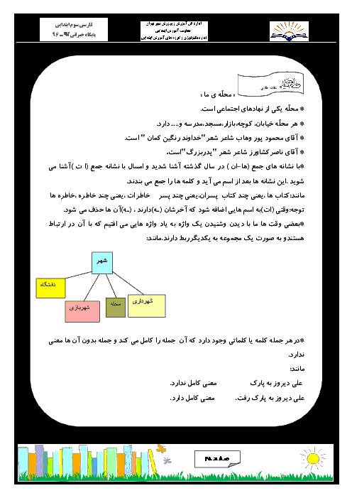 کتاب کار و تمرین فارسی سوم ابتدایی   درس 1 تا 17