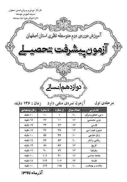 سوالات و پاسخ کلیدی آزمون پیشرفت تحصیلی پایه دوازدهم رشته انسانی استان اصفهان   مرحله اول (آذر 97)