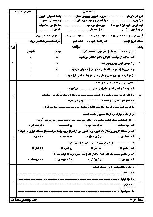 سوالات امتحان ترم اول زیست شناسی (1) دهم دبیرستان امام خمینی بروجن | دی 1399