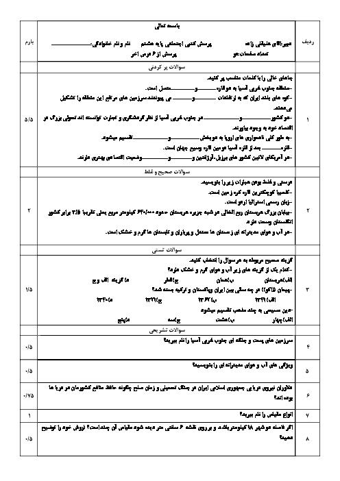 آزمون میان نوبت دوم مطالعات اجتماعی پایه هشتم مدرسه شهید غفاری | درس 19 تا 24