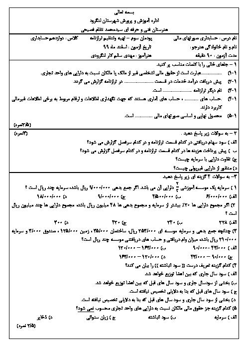 امتحان حسابداری تهیه و تنظیم صورتهای مالی دوازدهم هنرستان حاج سید نظام فصیحی   پودمان 3: تهیه و تنظیم ترازنامه