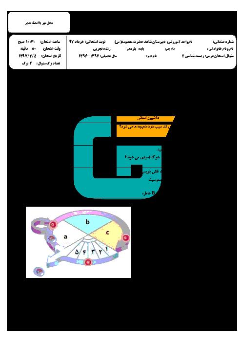 آزمون نوبت دوم زیست شناسی (2) پایه یازدهم دبیرستان حضرت معصومه | خرداد 1397