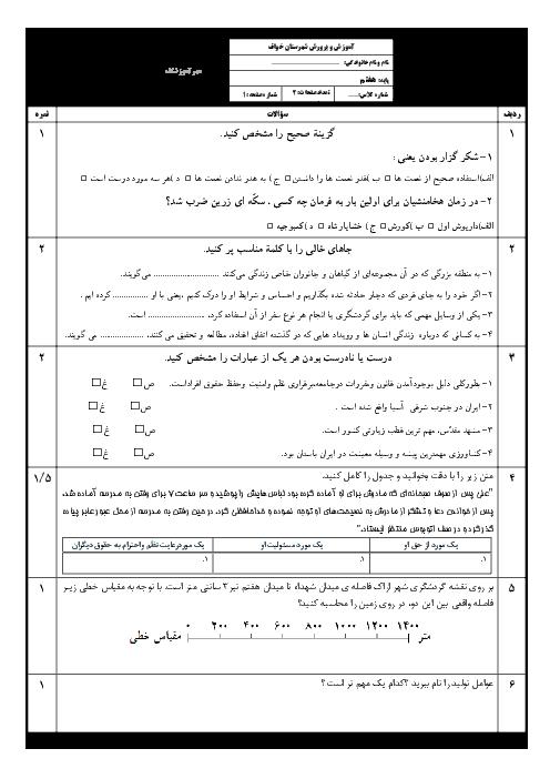 نمونه سوال امتحان نوبت دوم مطالعات اجتماعی هفتم با جواب | خرداد 96