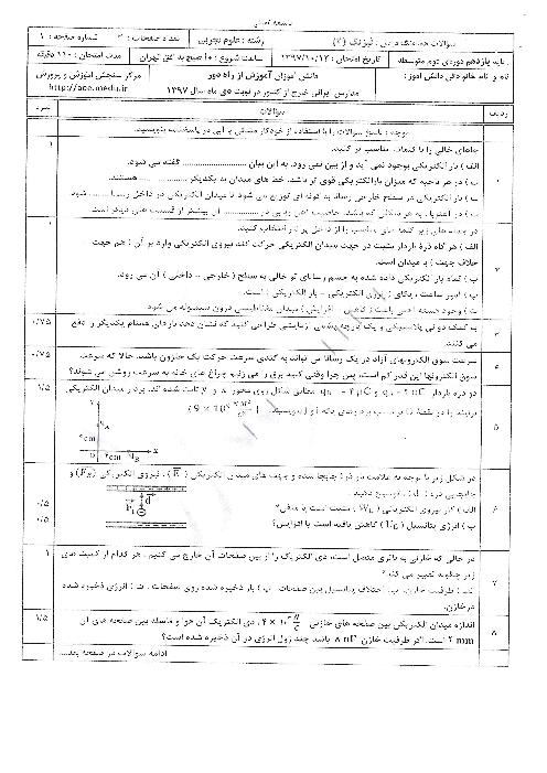 آزمون نوبت دوم فیزیک (2) یازدهم هماهنگ مدارس خارج از کشور | دی 1397