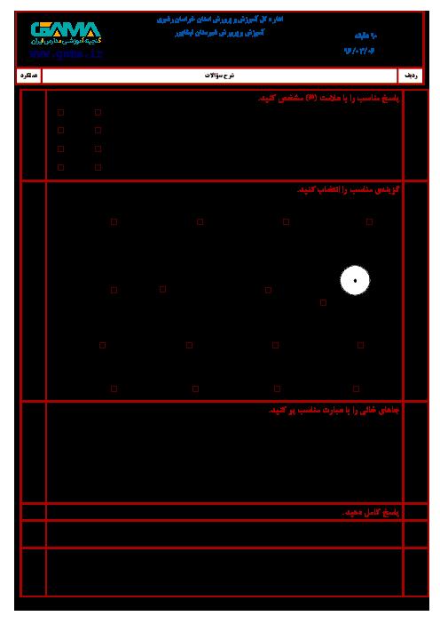 سوالات امتحان هماهنگ نوبت دوم ریاضی ششم دبستان شهرستان نیشابور ـ خرداد 96
