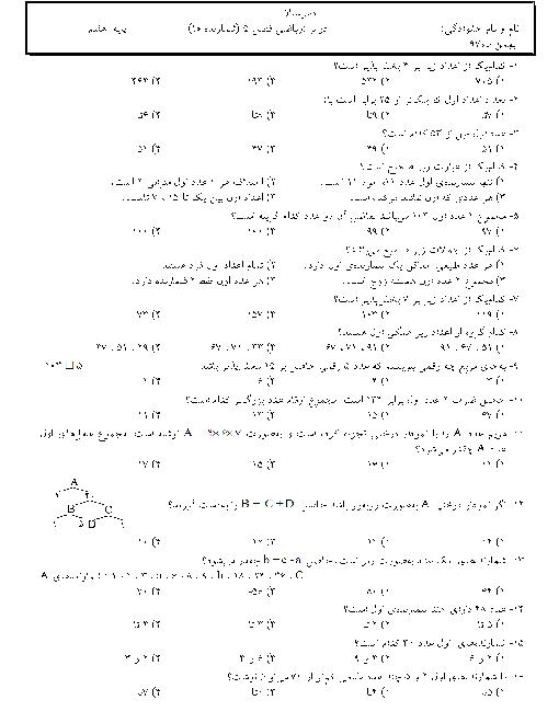 سؤالات تستی شمارنده ها و اعداد اول ریاضی هفتم مدرسه امام رضا شازند + پاسخ تشریحی