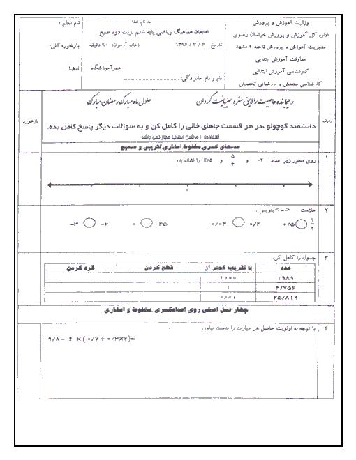 سوالات امتحان هماهنگ نوبت دوم ریاضی ششم دبستان ناحیه 4 مشهد با جواب - خرداد 96