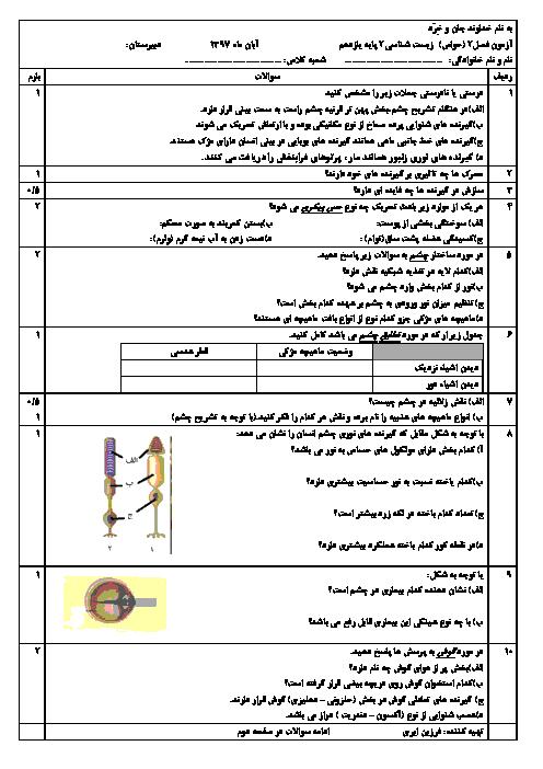 آزمون زیست شناسی (2) یازدهم تجربی | فصل 2: حواس
