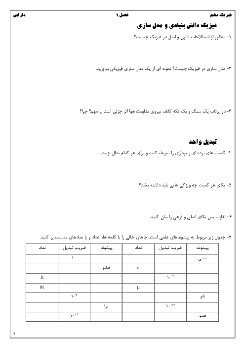 نمونه سوالات امتحانی فیزیک (1) پایه دهم رشته تجربی و ریاضی فیزیک | فصل 1: فیزیک و اندازه گیری