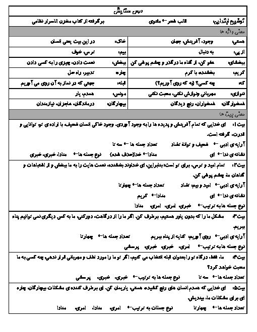 درسنامه فارسی پایه پنجم ابتدائی + معنی واژهها، معنی شعرها، جمله های دشوار و نکات دستوری و ادبی | ستایش، تماشاخانه و رقص باد خندهی گل