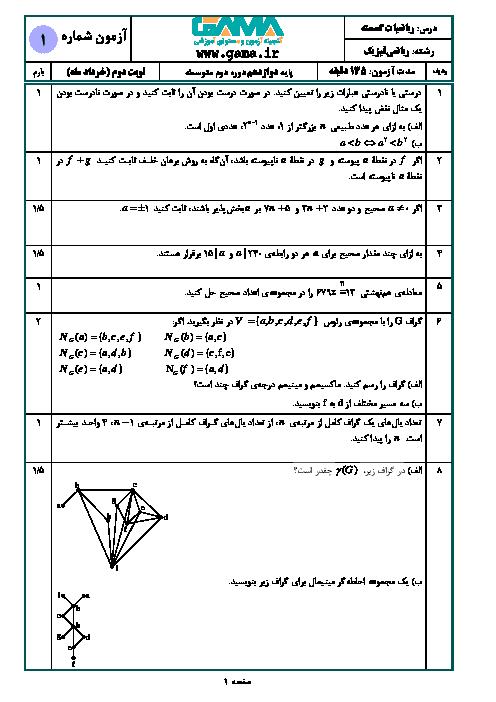 آزمون آمادگی امتحان نهایی ریاضیات گسسته دوازدهم ریاضی + پاسخ   نمونه 1