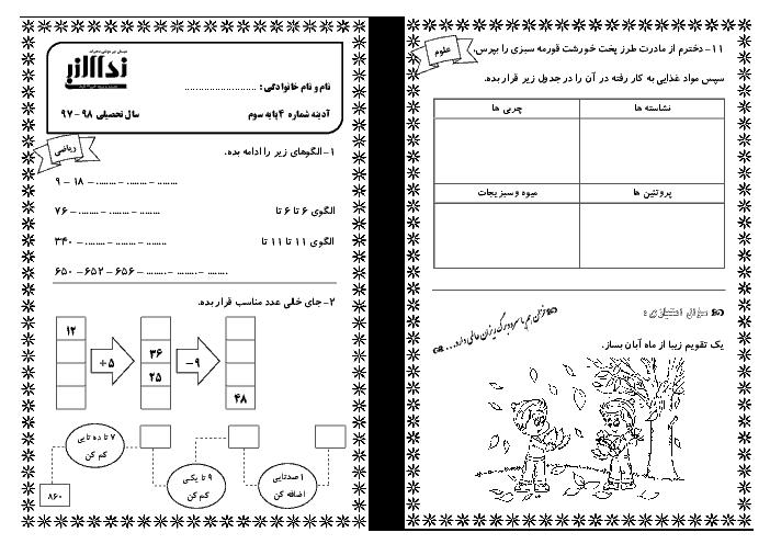 پیک آدینه شماره 4 آبان ماه دانش آموزان کلاس سوم دبستان نداء النبی (فارسی و ریاضی)