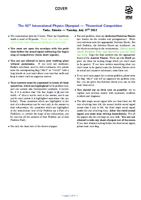 سؤالات چهل و سومین دوره المپیاد جهانی فیزیک با پاسخ تشریحی   سال 2012 (استونی)