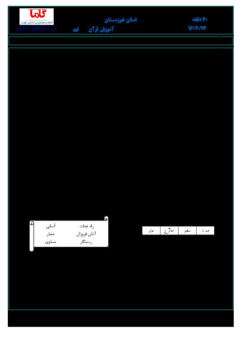 سؤالات و پاسخنامه امتحان هماهنگ استانی نوبت دوم خرداد ماه 96 درس آموزش قرآن پایه نهم | استان خوزستان