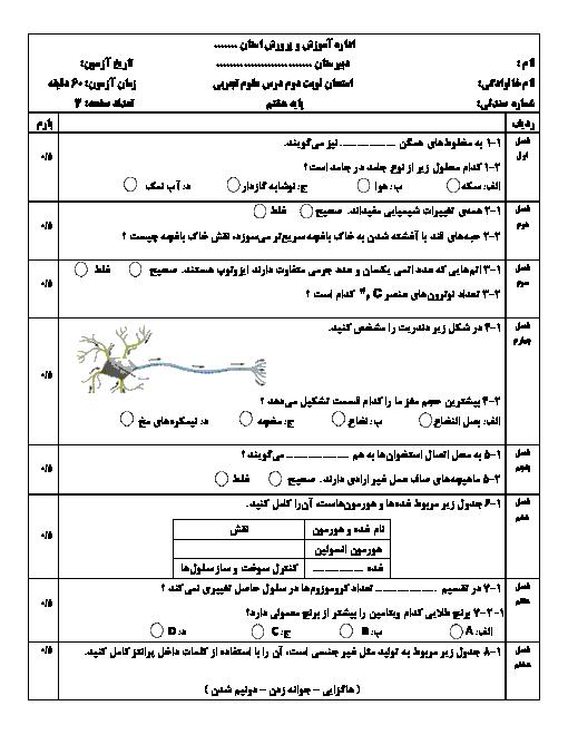 نمونه سوال استاندارد نوبت دوم علوم تجربی هشتم مدرسه جابر بن حیان | خرداد 1398 + پاسخنامه