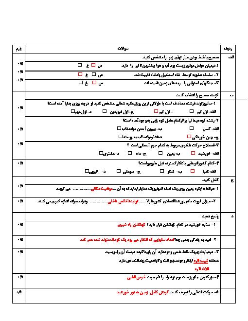 امتحان نوبت اول مطالعات اجتماعی نهم مدرسۀ امام رضا | دی 96