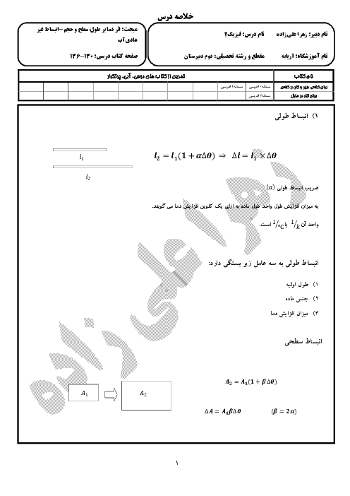 درسنامه فيزيک (1) دهم رشته رياضی و تجربی - اثر دما بر طول، سطح و حجم، انبساط غیرعادی آب