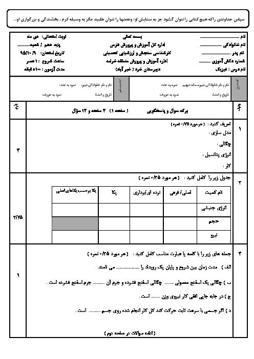 آزمون نوبت اول فيزيک (1) دهم رشته تجربی دبیرستان خرد منطقه خرامه فارس | دیماه 95