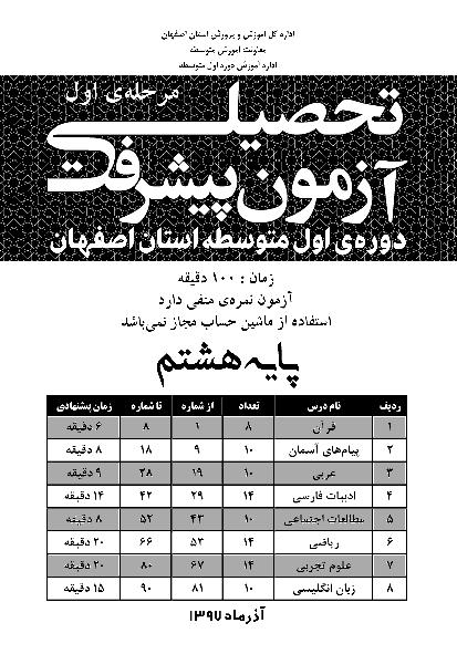 سوالات و پاسخ تشریحی آزمون پیشرفت تحصیلی پایه هشتم استان اصفهان   مرحله اول (آذر 97)