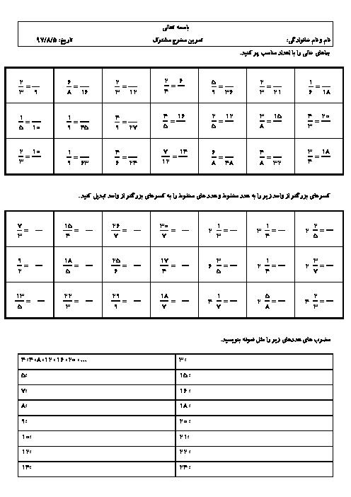 کاربرگ تمرین ریاضی ششم دبستان پاسداران انقلاب | مخرج مشترک