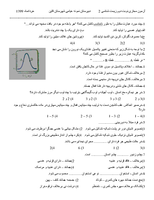 آزمون نوبت دوم زیست شناسی (2) یازدهم دبیرستان نمونه خیامی | خرداد 1399