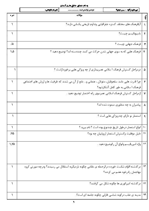 سوالات امتحان درس 2 تا 4 جامعه شناسی یازدهم دبیرستان فاطمه الزهرا خواف