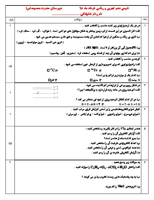 امتحان نوبت دوم شیمی دهم دبیرستان حضرت معصومه اشکنان | خرداد 1398