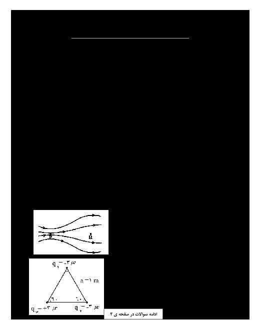 آزمون آمادگی نوبت اول فیزیک (2) رشتۀ تجربی یازدهم  دبیرستان ابوذر ابرکوه